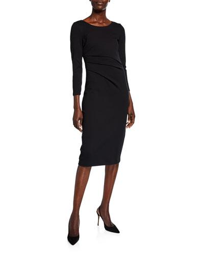 Round-Neck Ruched Jersey Dress, Black