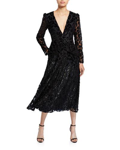 Metallic Leopard Midi Dress
