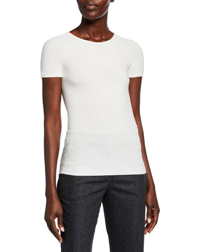 Scoop-Neck Short-Sleeve Ribbed Tee