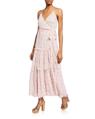 Bobbi Tiered Silk Charmeuse Floral Wrap Dress