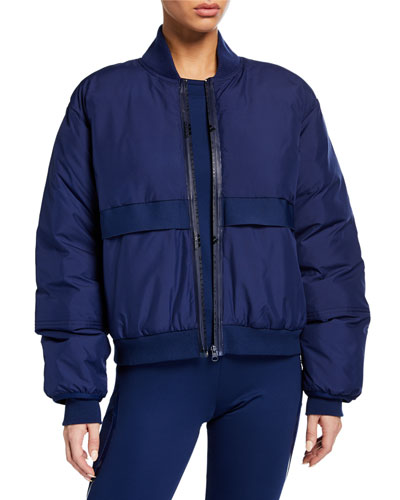 Padded Zip-Front Bomber Jacket