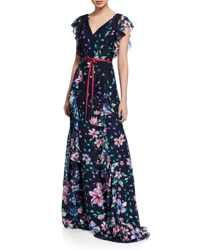 Floral Burnout Chiffon V-Neck Cap-Sleeve Gown w/ Ruffle Detailing