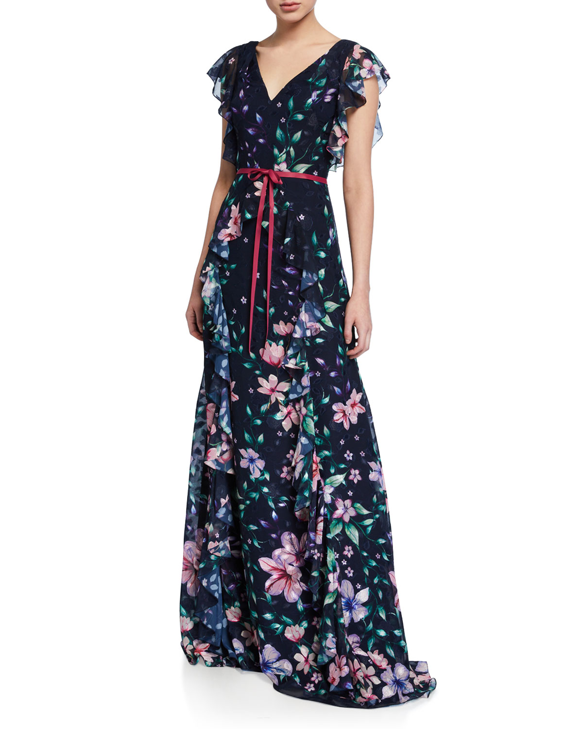 Marchesa Notte Tops FLORAL BURNOUT CHIFFON V-NECK CAP-SLEEVE GOWN W/ RUFFLE DETAILING