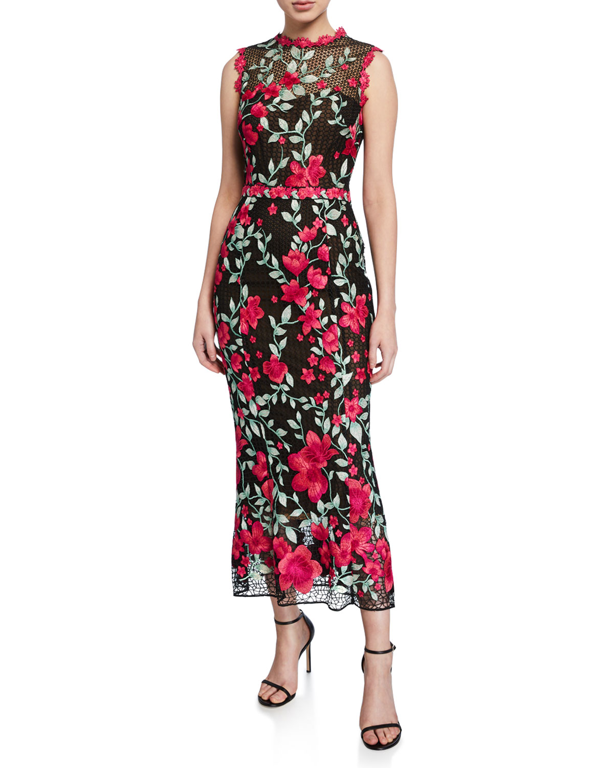 Marchesa Notte Tops SLEEVELESS FLORAL EMBROIDERED GUIPURE TEA-LENGTH GOWN