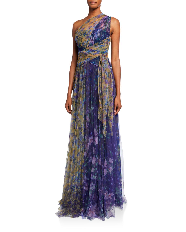 Marchesa Notte Dresses COLORBLOCK FLORAL-PRINT ONE-SHOULDER TULLE DRESS W/ BACK CUTOUT