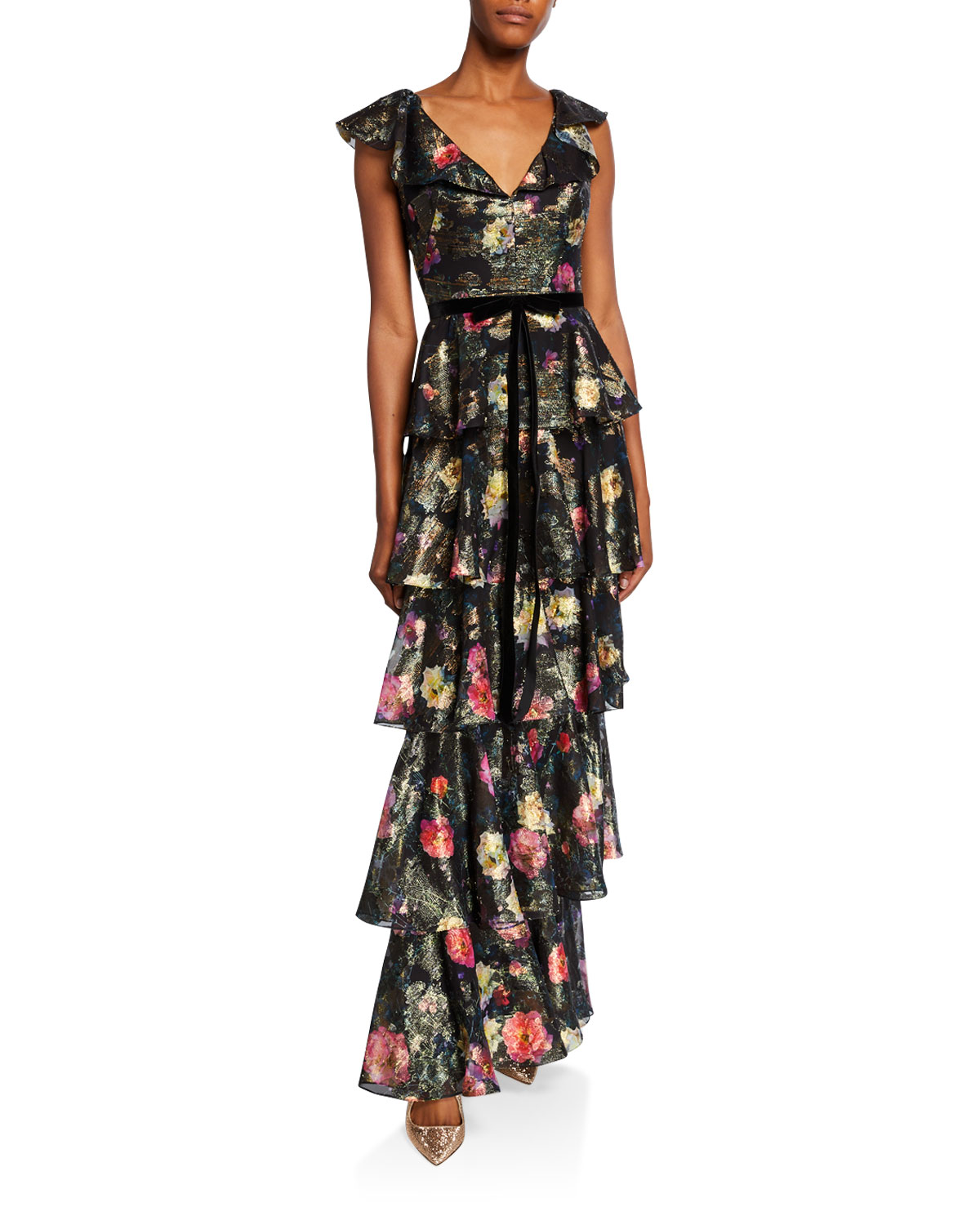 Marchesa Notte Tops METALLIC PRINTED V-NECK SLEEVELESS TIERED FIL COUPE RUFFLE GOWN