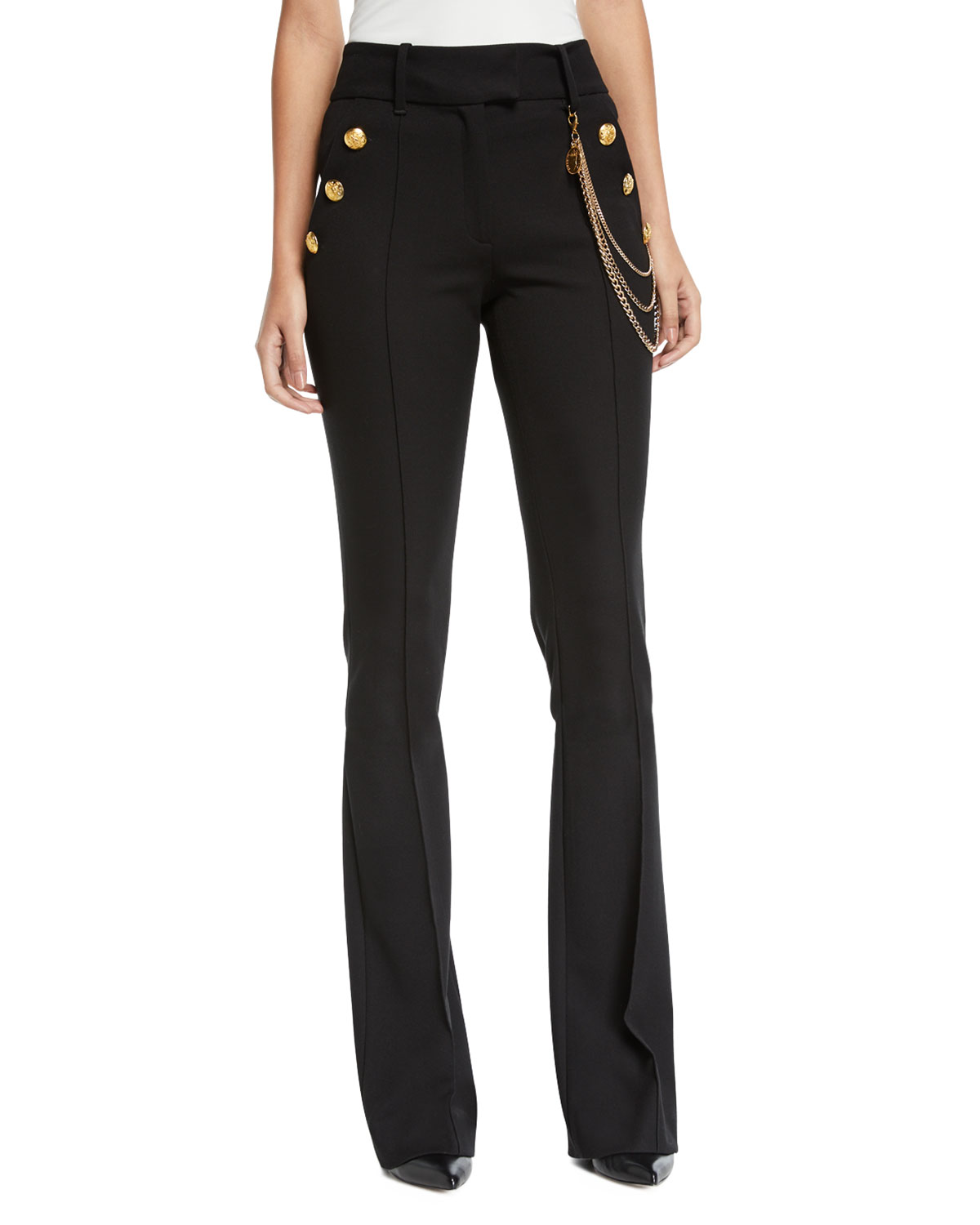 Veronica Beard Pants Alair High-Rise Boot-Cut Trousers with Chain Details, BLACK