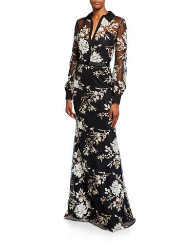 Floral Sequin Long-Sleeve Shirtdress