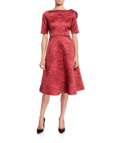 High-Neck Elbow-Sleeve Jacquard A-Line Dress