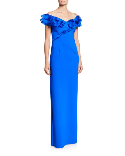 Asymmetric Ruffle Off-Shoulder Cap-Sleeve Scuba Gown