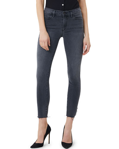 Mid-Rise Crop Skinny Jeans with Raw Hem