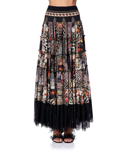 Tiered Printed Skirt with Lace Hem