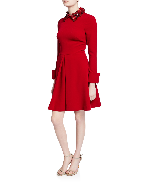 Badgley Mischka Dresses EMBELLISHED COLLAR LONG-SLEEVE INVERTED PLEAT SHIRTDRESS