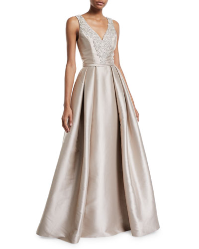 Faille V-Neck Ball Gown with Crystal Beading