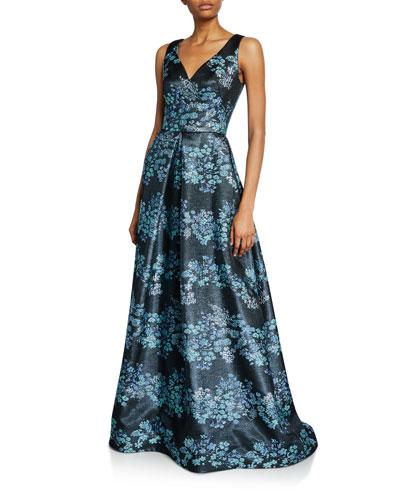 Metallic Floral V-Neck Sleeveless A-Line Gown