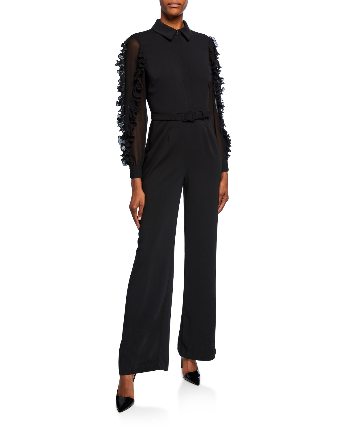Badgley Mischka Suits LONG-SLEEVE BELTED RUFFLE JUMPSUIT