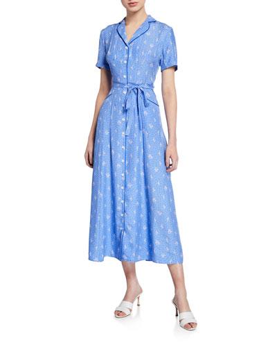 Long Maria Flamingo-Print Button-Down Dress