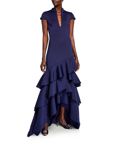 Funnel-Neck Cap-Sleeve High-Low Ruffle Hem Scuba Gown