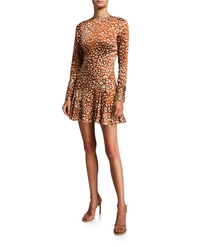 Madhu Long-Sleeve Leopard-Print Flounce Dress