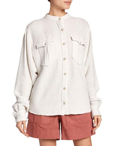 Jepson Cotton Band-Collar Button-Down Top