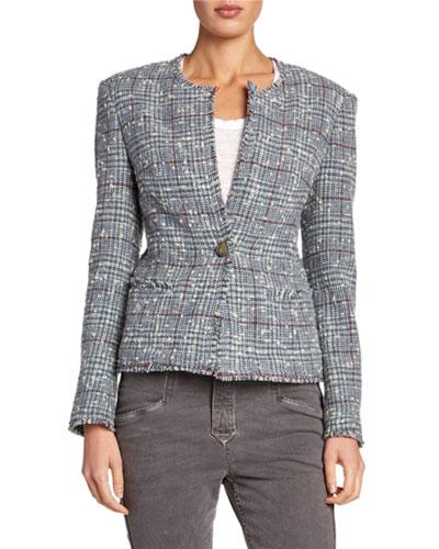 Kamila Collarless Structured Tweed Jacket