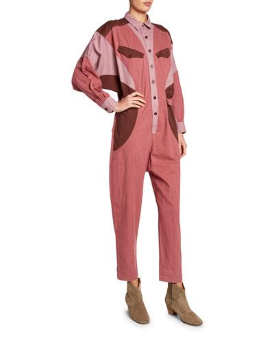 Guan Colorblock Button-Front Jumpsuit