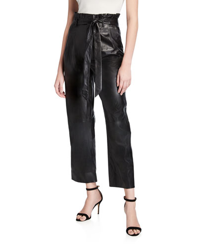 Ryan Leather Paperbag Ankle Pants