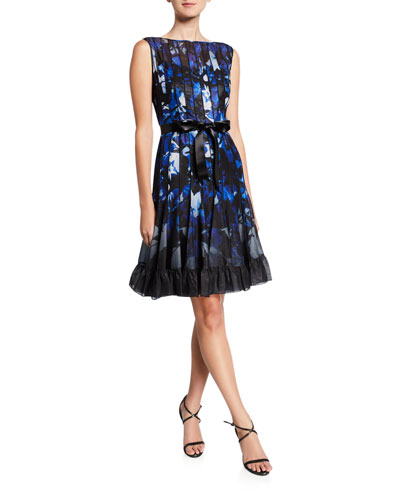 Abstract Sleeveless Pintucked Cocktail Dress