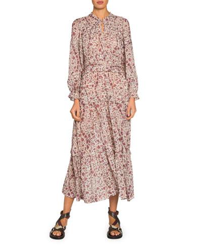 Likoya Tiered Long-Sleeve Maxi Dress