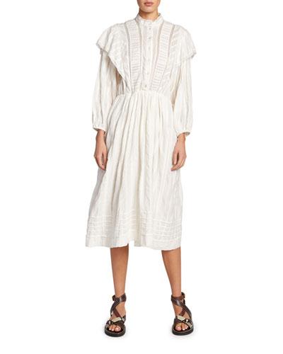 Paolina Poplin Peasant Shirtdress