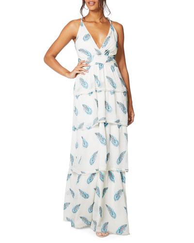 Toleda Printed Cross-Back Tiered Maxi Dress