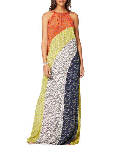 Wesley Printed Colorblock Maxi Dress
