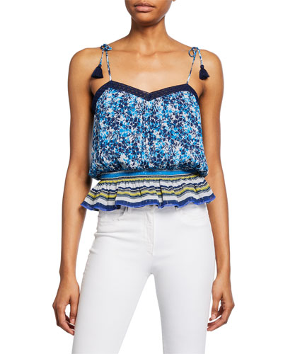 Axel Printed Shoulder-Tie Silk Top