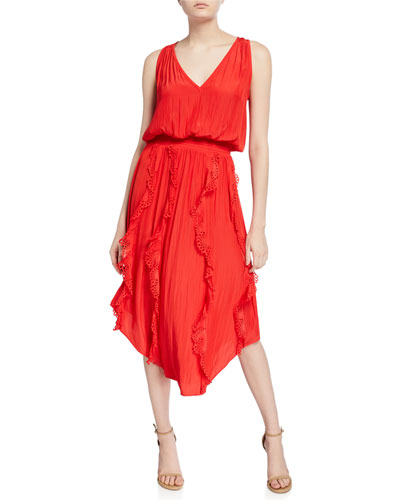 Vanesa Sleeveless Eyelet Ruffle Midi Dress