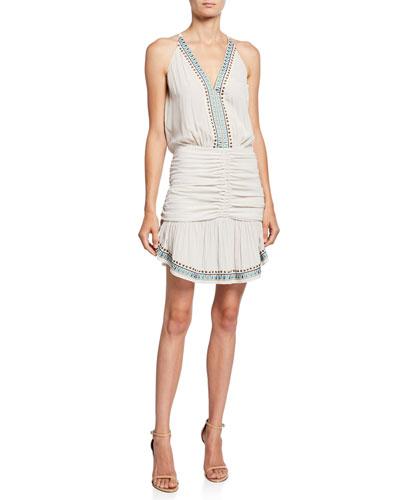Arya Embellished Ruched Short Dress