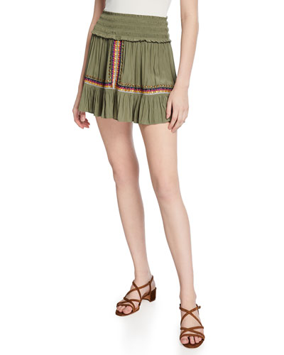 Owen Smocked Embellished Short Skirt