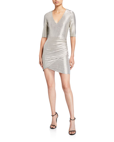 Judy Short-Sleeve Ruched Dress