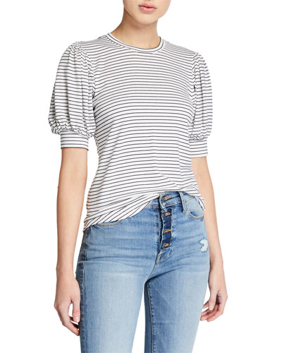 Balloon-Sleeve Striped Tee