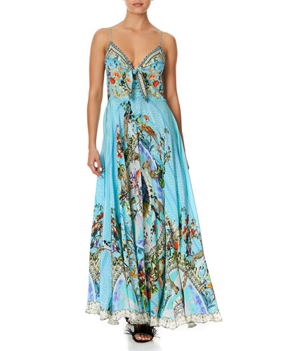Tie-Front Sleeveless Printed Long Dress