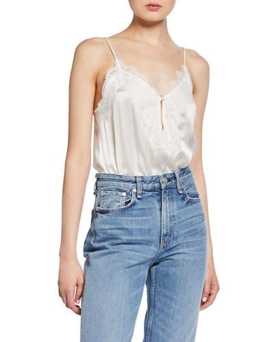 The Iris Spaghetti-Strap Bodysuit, White