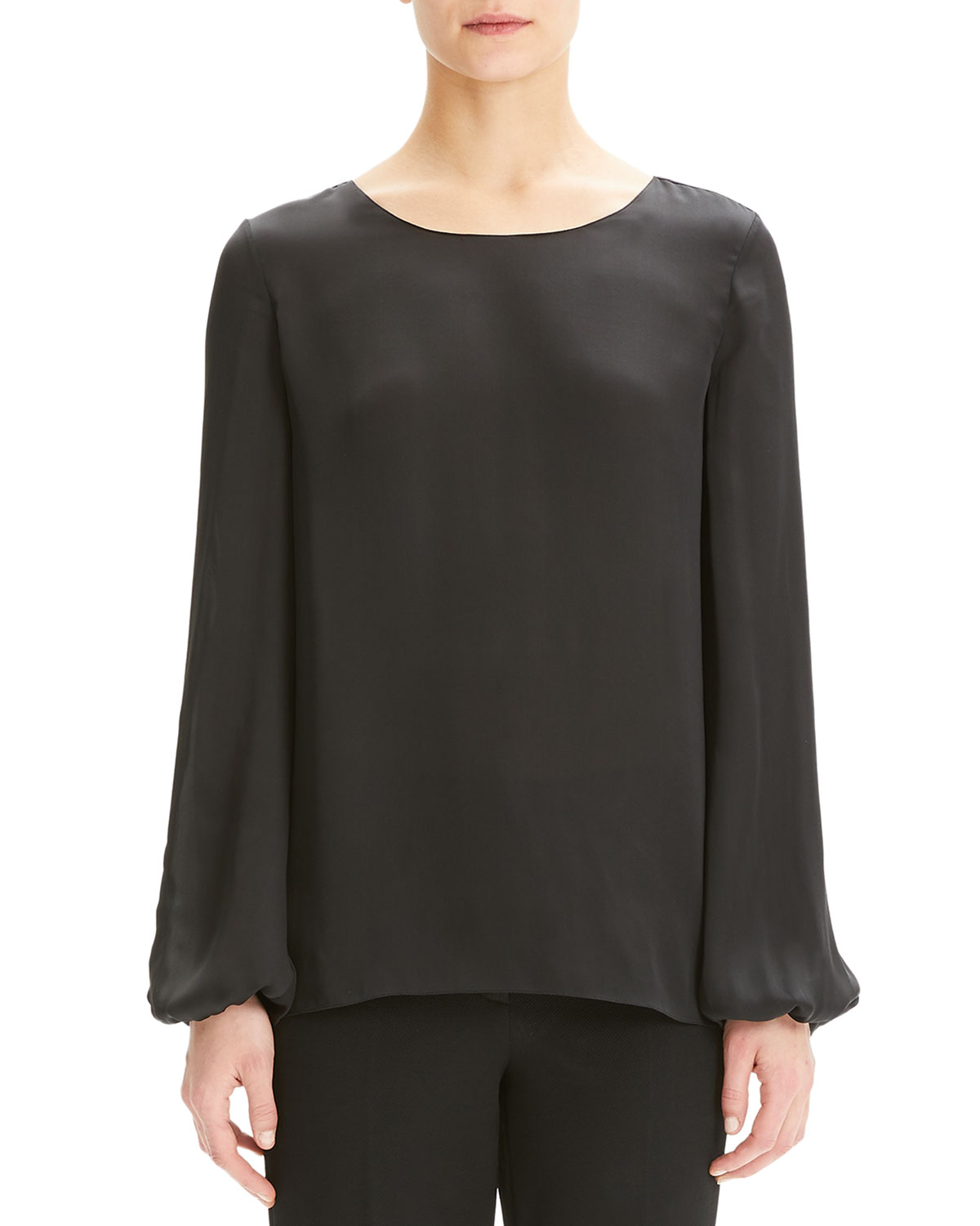 Theory T-shirts SCOOP-NECK BLOUSON-SLEEVE SILK SHIRT