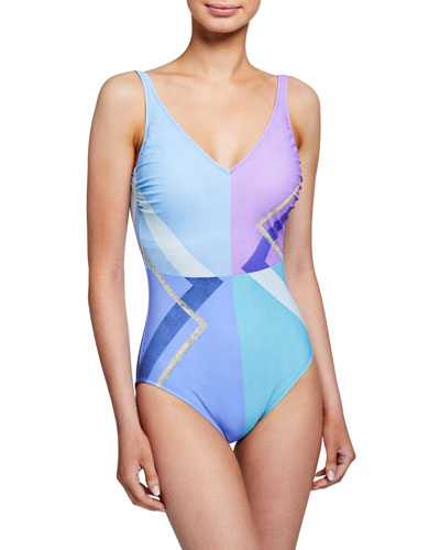 Modern Art V-Neck One-Piece Swimsuit