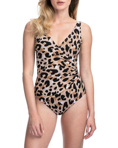 Kenya Animal-Print Surplice One-Piece Swimsuit - Extra Coverage