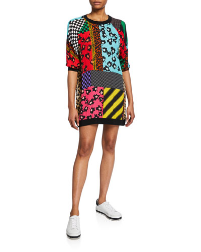 Jetti Mixed-Print Raglan-Sleeve Sweatshirt Dress