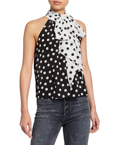 Liana Polka-Dot Bow-Neck Sleeveless Top