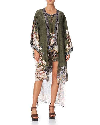 Layered Silk Kimono with Long Underlay
