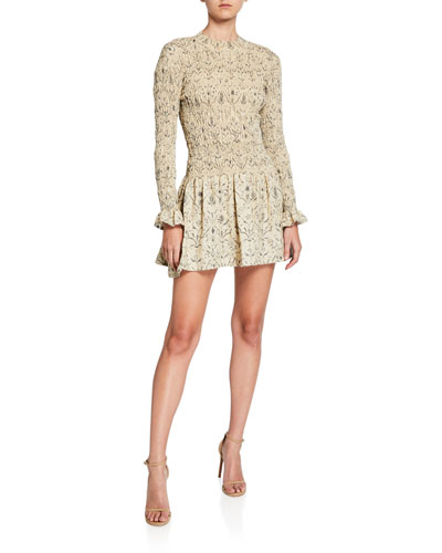 Sachi Long-Sleeve Ruched Mini Dress