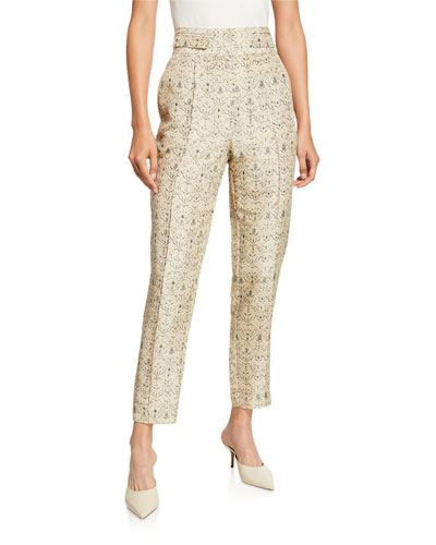Siena Paneled Raw-Silk Ankle Pants