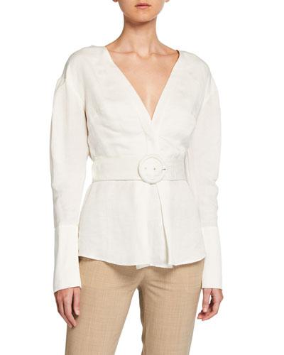 Inez Belted Linen Shirt