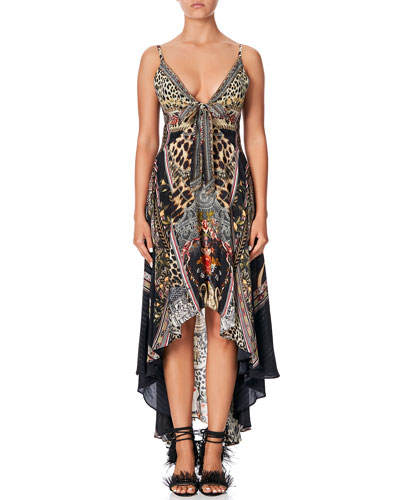 Tie-Front Printed High-Low Dress